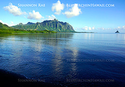 Sweeping Landscape Scene of Kualoa mountains with Mokolii Island in Hawaii