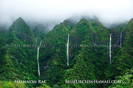 Waterfalls flowing between misty hawaiian mountain peaks